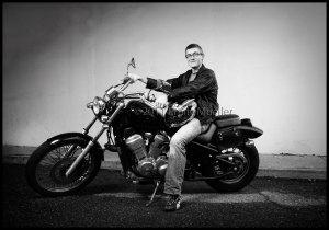 Adam Mark on his motorcyle